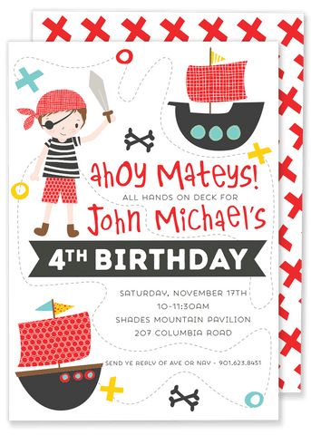 Ahoy Matey Pirate Birthday Party Invitation