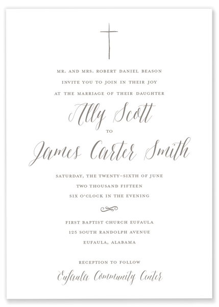 Ally + Jimmy Cross Wedding Invitation