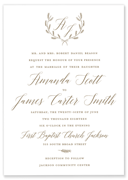 Amanda Scott Monogram Laurel Wedding Invitation