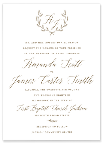 gold laurel monogram wedding invitation