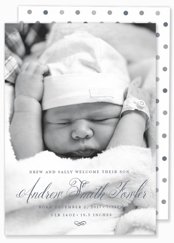 calligraphy script boy birth announcement blue