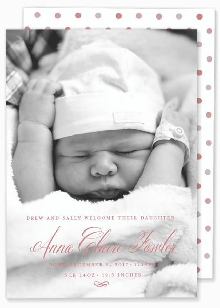 calligraphy script girl birth announcement pink
