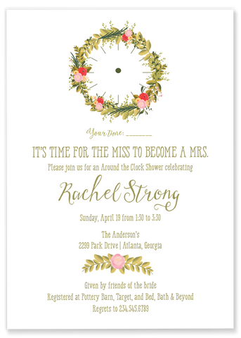 around the clock wedding shower invitation