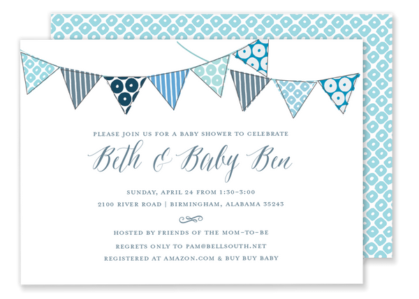blue bunting flag banner birthday party invitation