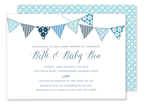 blue bunting flag banner baby shower invitation