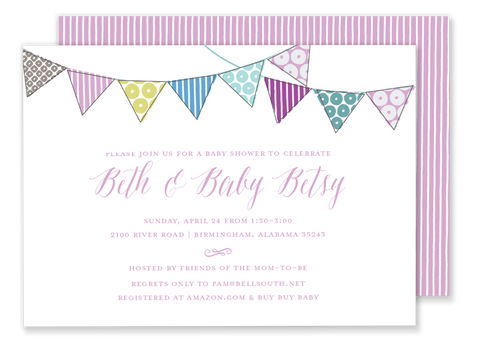 pink bunting flag banner birthday party invitation