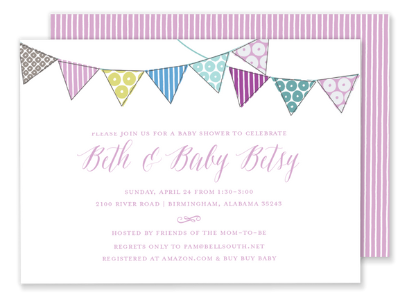 pink bunting flag banner baby shower invitation
