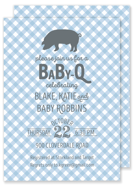 baby q bbq themed baby shower invitation blue