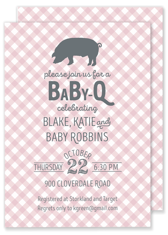 baby q bbq themed baby shower invitation pink