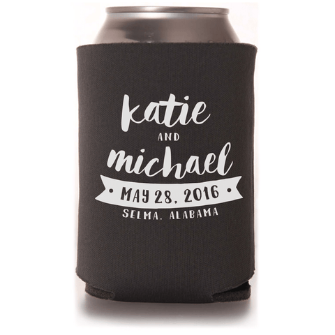 brown wedding koozies can coolers with bride and groom names