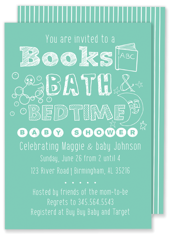 books bath and bedtime baby shower green