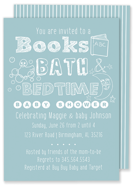 books bath and bedtime baby shower blue