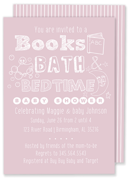 books bath and bedtime baby shower pink