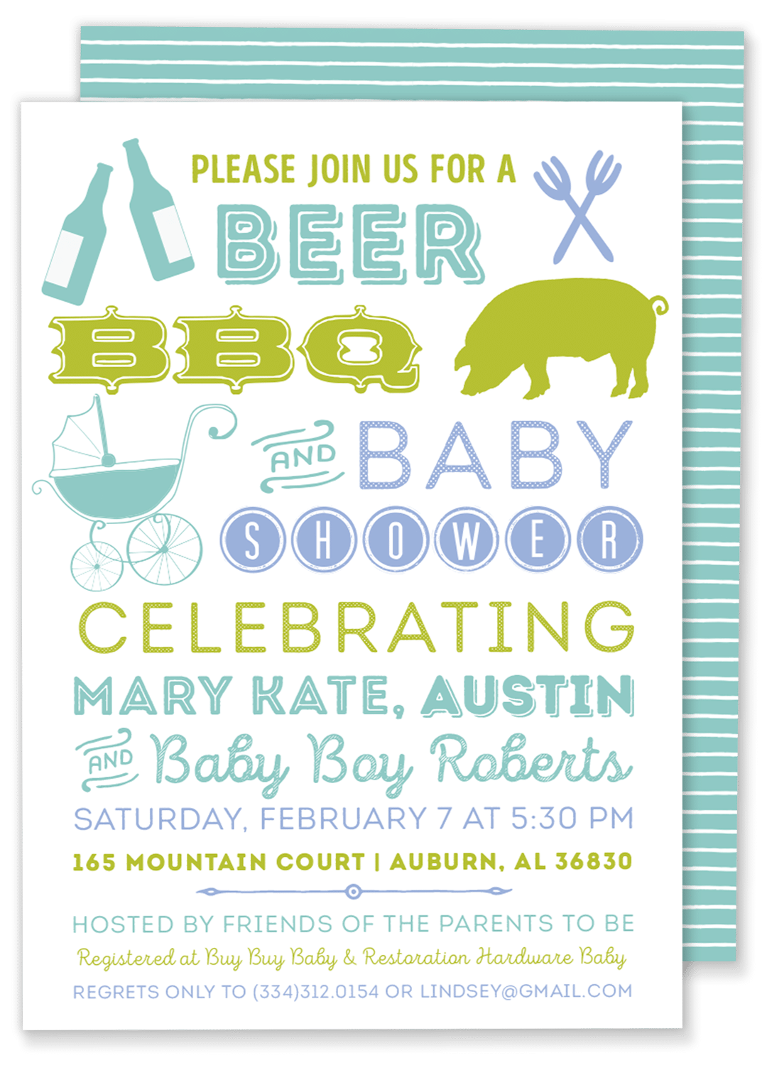 Beer, BBQ U0026 Baby Shower Invitation