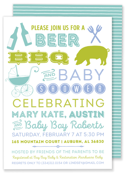 Beer, BBQ & Baby Shower Invitation