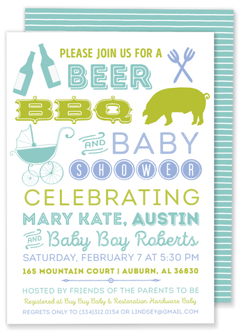 beer bbq and baby shower invitation blue green