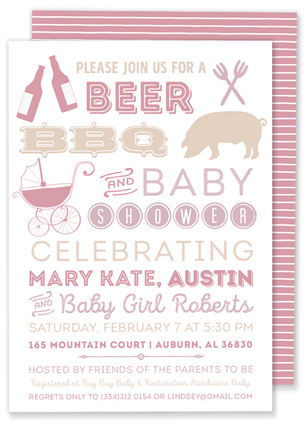 beer bbq and baby shower invitation pink