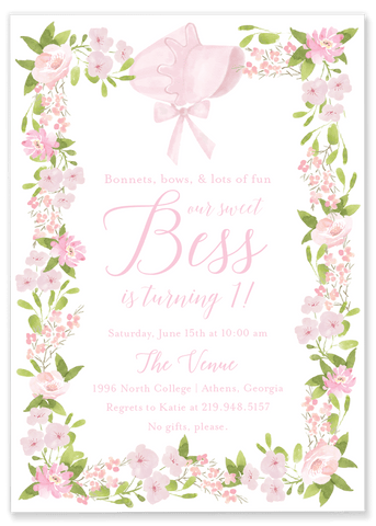 Bess Bonnet Birthday Invitation