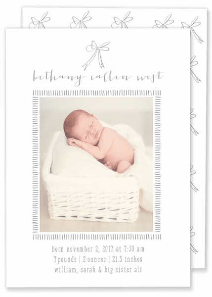grey bow girl birth announcement