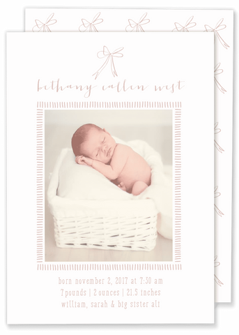 pink bow girl birth announcement