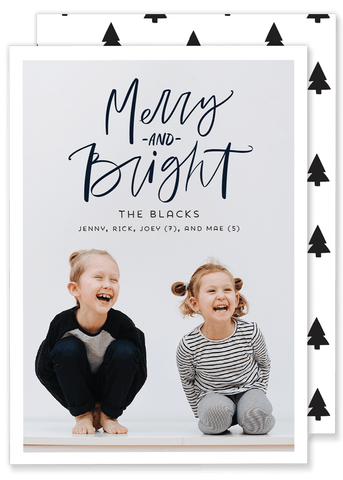 Black and White Merry and Bright Christmas Card