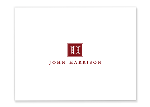 male monogram folded note cards red