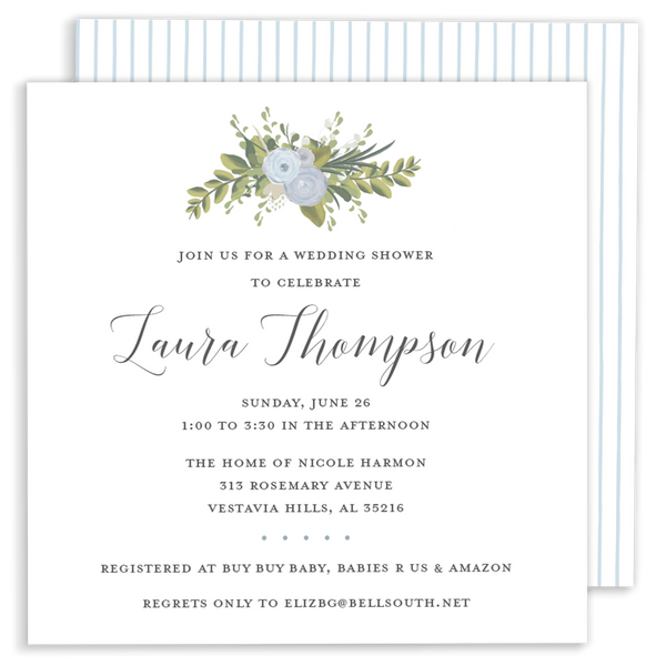 Blue Bouquet Shower Invitation