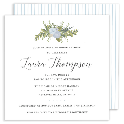 blue watercolor flower wedding shower and baby shower invitation