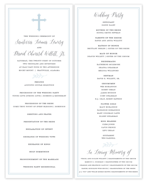 Blue Cross \\ Flat Wedding Program