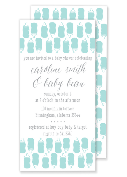 blue bottle baby shower invitation