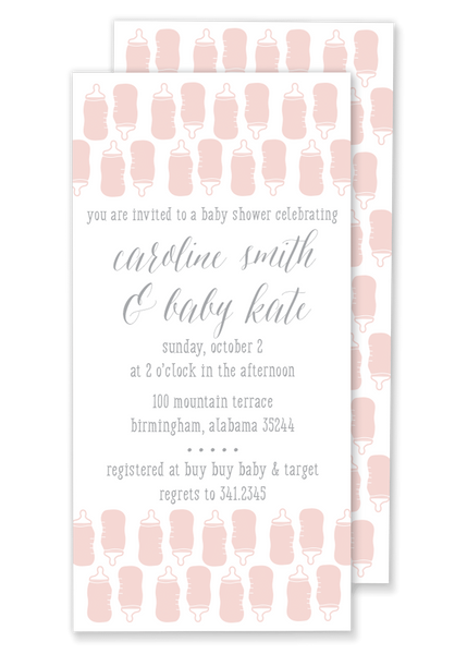 pink bottle baby shower invitation