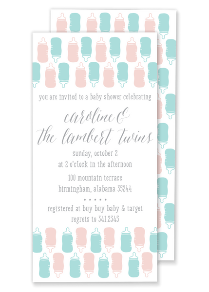 twin bottle baby shower invitation