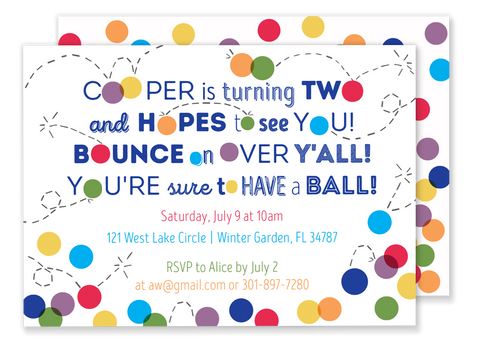 bouncy ball birthday party invitation