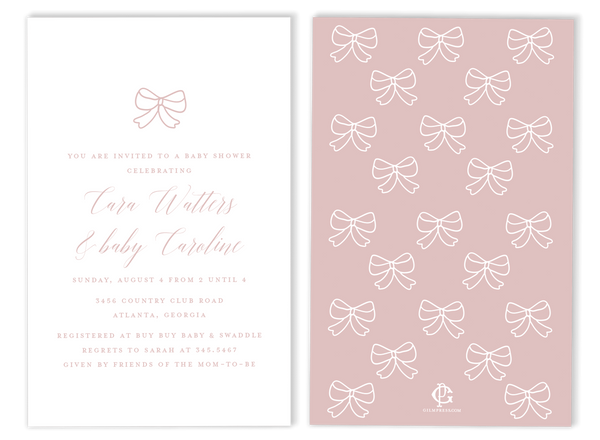 Bow Baby Shower Invitation