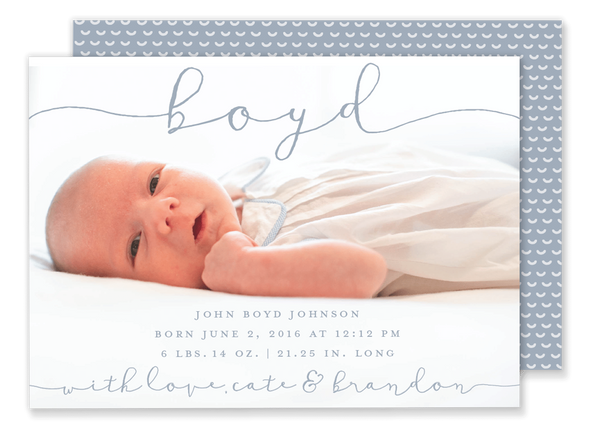 Boyd Horizontal Birth Announcement