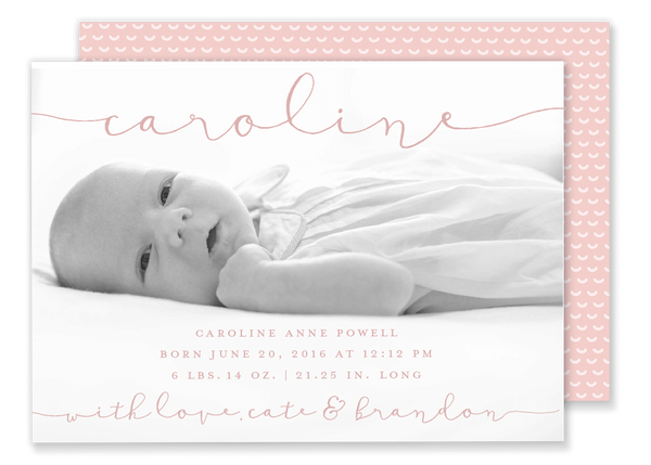 baby girl birth announcement pink