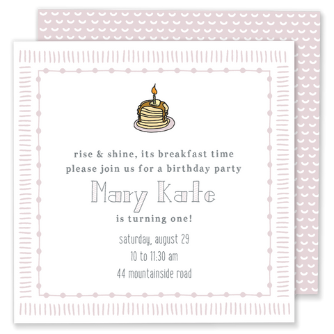 pancake birthday party invitation pink