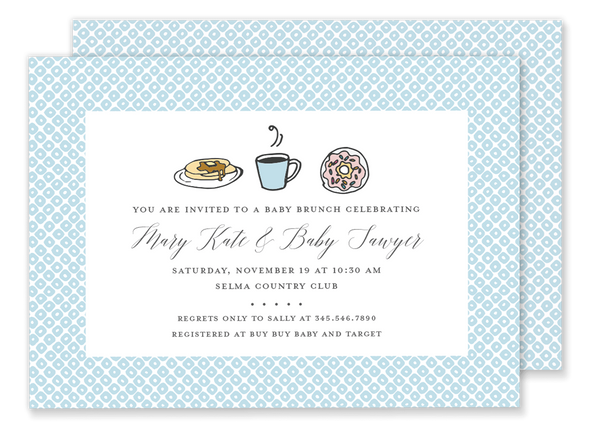 brunch breakfast birthday party invitation blue