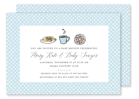 brunch breakfast baby shower invitation blue