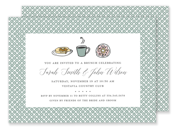 brunch breakfast birthday party invitation green