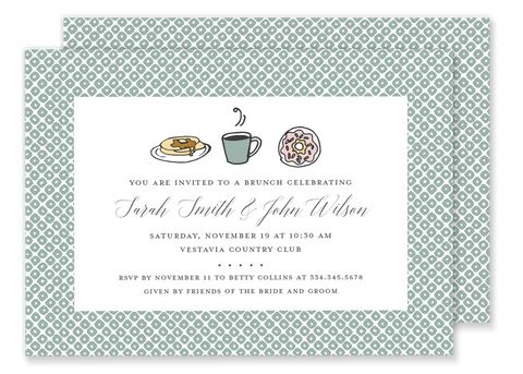 brunch breakfast wedding shower invitation green