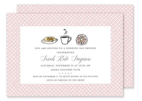 brunch breakfast birthday party invitation pink