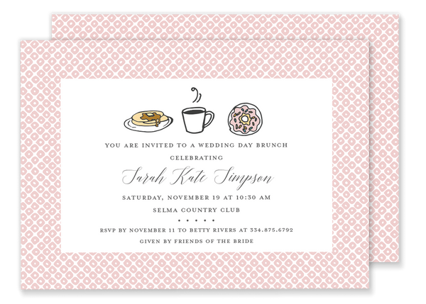 brunch breakfast baby shower invitation pink