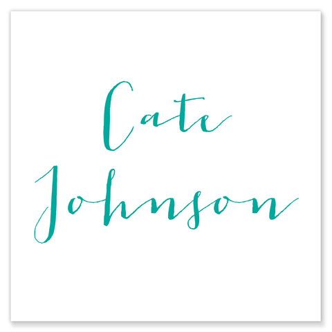 calligraphy name calling card enclosure card gift tag teal