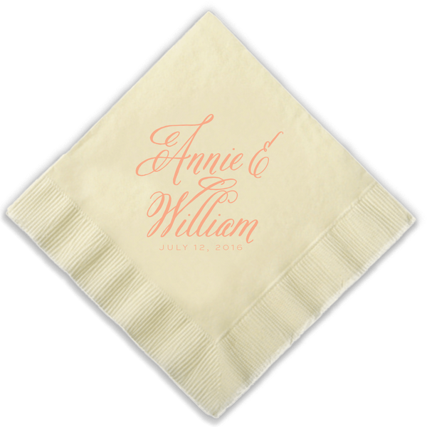 ivory paper napkin with calligraphy names