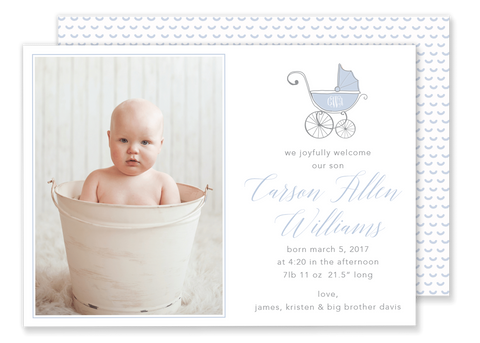 carriage birth announcement blue with monogram
