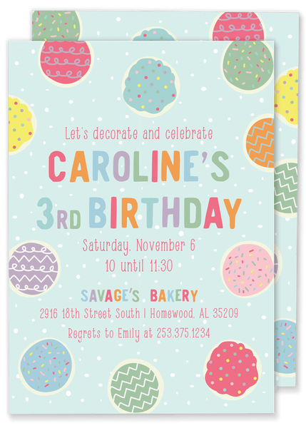 Caroline Cookie Birthday Invitation