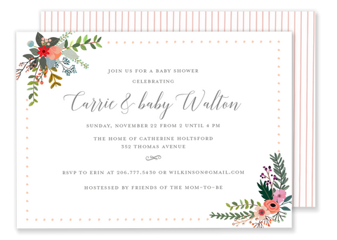 pink country flower wedding shower bridal shower invitation
