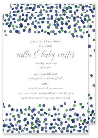 green and blue confetti birthday party invitation