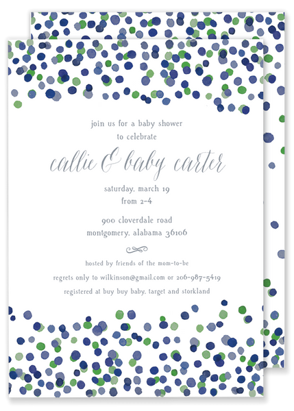 green and blue confetti baby shower wedding shower invitation